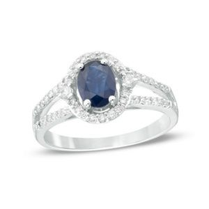 Natural Blue Sapphire Ring  with Dimonds 10K Gold
